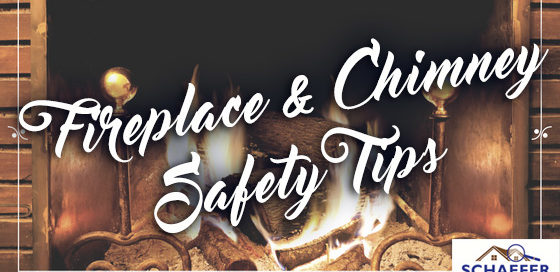 "roaring fireplace with the words ""Fireplace & Chimney Safety Tips"" overlayed"