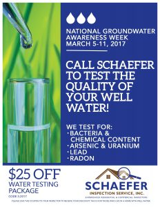 CALL SCHAEFER TO TEST THE QUALITY OF YOUR WELL WATER